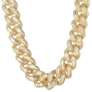 925 Zilveren Iced Out Baguette Cuban Link Chain 18 MM