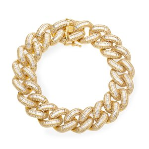 925 Zilveren Iced Out Baguette Cuban Link Armband 18 MM GD