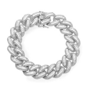 925 Zilveren Iced Out Baguette Cuban Link Armband 18 MM