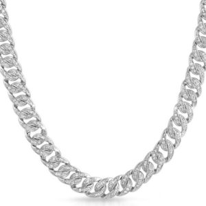Sterling 925 Silver Iced Out Miami Cuban Link Chain 10mm