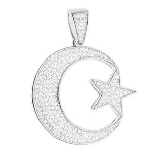 925 Zilveren Iced Out Turkse Vlag Hanger