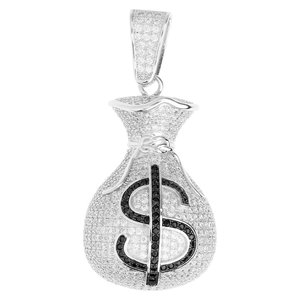 925 Iced Out Sterling Silver Money Bag Pendant