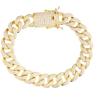 925 Zilveren Iced Out Miami Cuban Link Armband 12 MM - GD