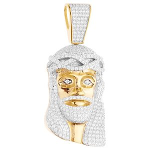925 Iced Out Sterling Silver Jesus Piece Pendant II