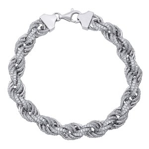925 Zilveren Iced Out Rope Link Armband 12 MM S